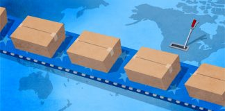 illustration of conveyor belt moving boxes over map of the globe