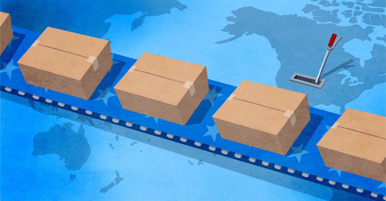 Ilustración de una cinta transportadora que mueve cajas sobre un mapa del mundo (Depto. de Estado/D. Thompson)