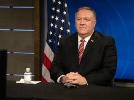 Mike Pompeo sitting for a virtual discussion (State Dept./Freddie Everett)