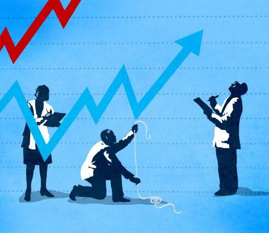 Ilustração de pessoa uniformizada içando uma seta indicadora de economia por trás de uma cortina estampada com a bandeira chinesa (Depto. de Estado/D. Thompson)