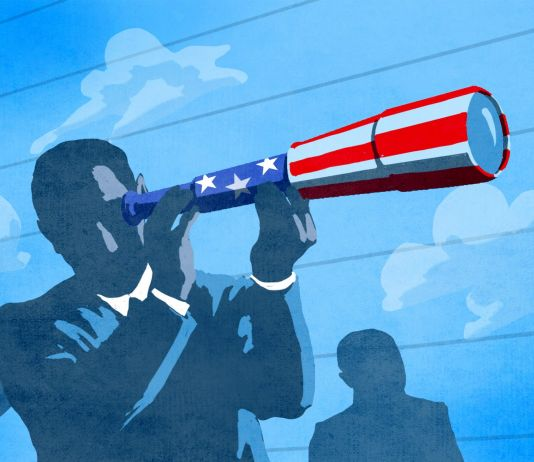Illustration of person holding telescope with U.S. flag design while standing in front of other people and clouds in sky (State Dept./D. Thompson)