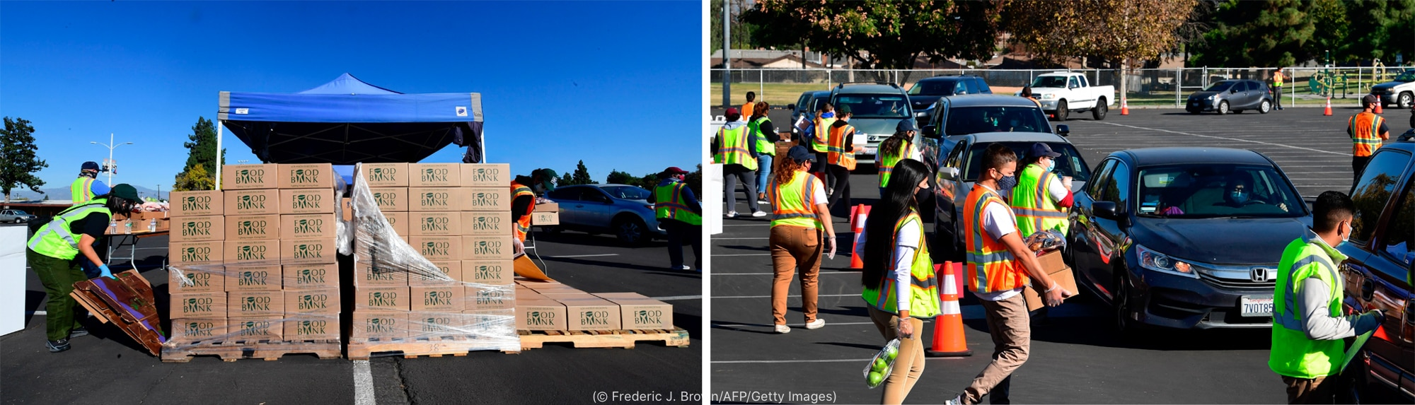 At left, person unloading boxes from pallet. At right, people with boxes and bags walking toward line of parked cars (© Frederic J. Brown/AFP/Getty Images)