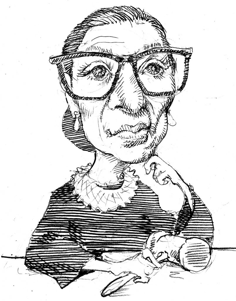 Illustration of Ruth Bader Ginsburg sitting and holding gavel (State Dept./D. Thompson)