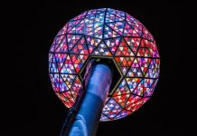 Multi-colored crystal ball on the top of a post (