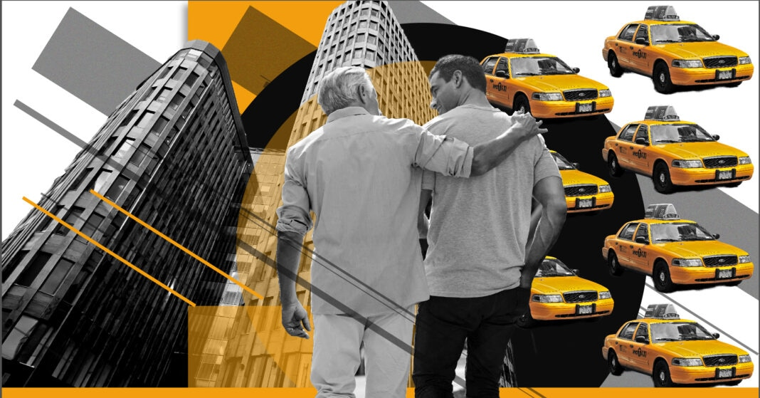 Collage of images of two men standing, tall buildings and taxicabs (State Dept./S. Gemeny Wilkinson)