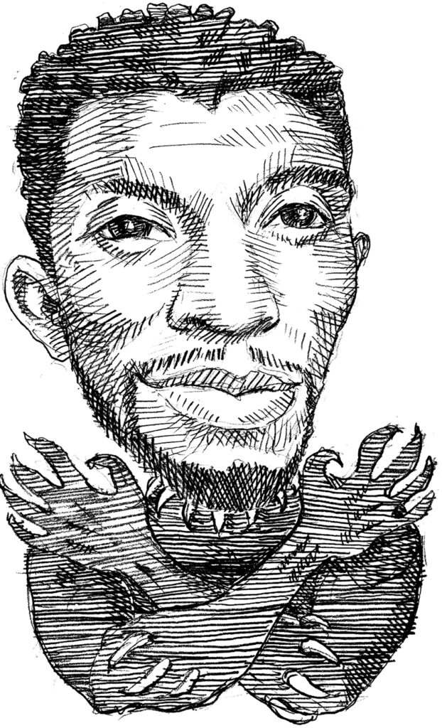 Illustration of Chadwick Boseman in Black Panther costume with arms crossed in front (State Dept./D. Thompson)