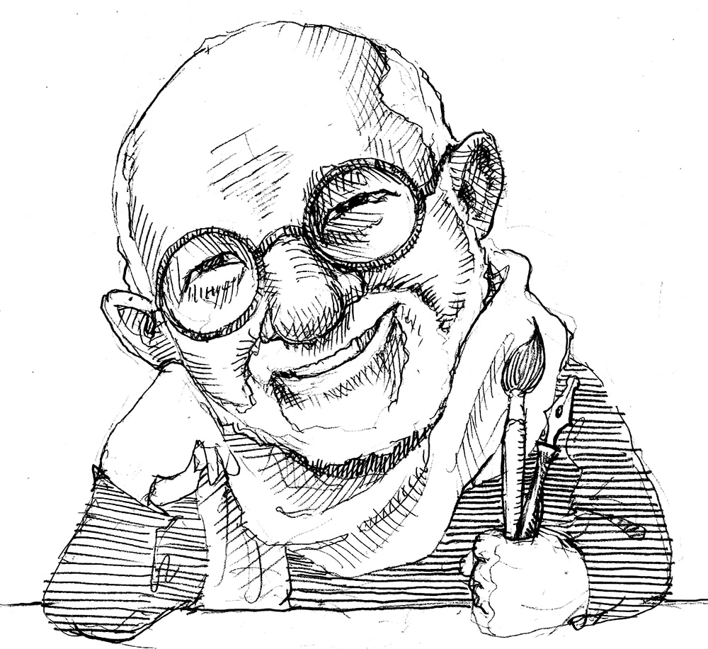 Illustration of Tomie dePaola holding paintbrush and fountain pen (State Dept./D. Thompson)