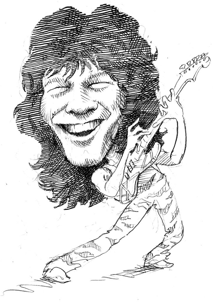 Illustration of Eddie Van Halen holding guitar (State Dept./D. Thompson)