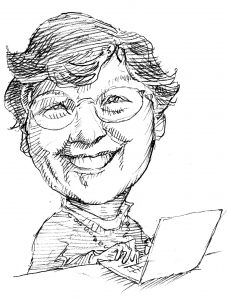 Illustration of Frances Allen with laptop (State Dept./D. Thompson)