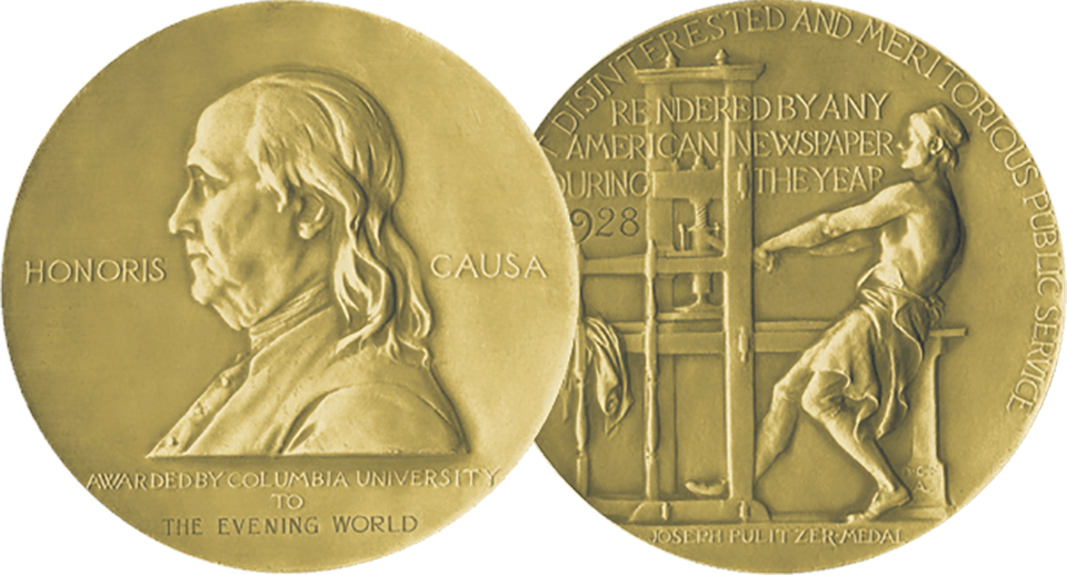 Images of both sides of Pulitzer Prize gold medal (© The Pulitzer Prizes)