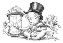 Ilustração de bebê usando chapéu cartola sentado ao lado de uma ampulheta segurando lírios de calla (Departamento de Estado/D. Thompson)