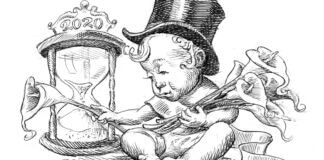 Illustration of baby in top hat sitting next to hourglass and holding calla lilies (State Dept./D. Thompson)