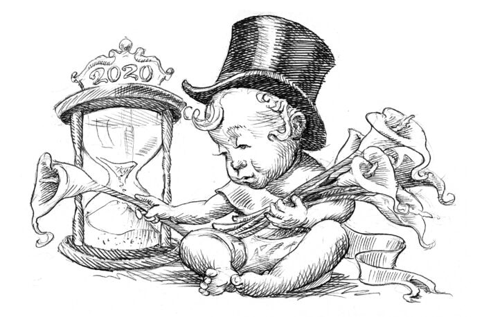 Illustration of baby sitting next to hourglass holding calla lilies