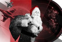 Composite photo that includes Santa with bag over his shoulder, radar screen, military aircraft, a planet and Christmas decorations (State Dept./S. Gemeny Wilkinson)