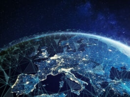 Illustrated blue map of Europe and Asia depicting telecommunications (© Shutterstock)