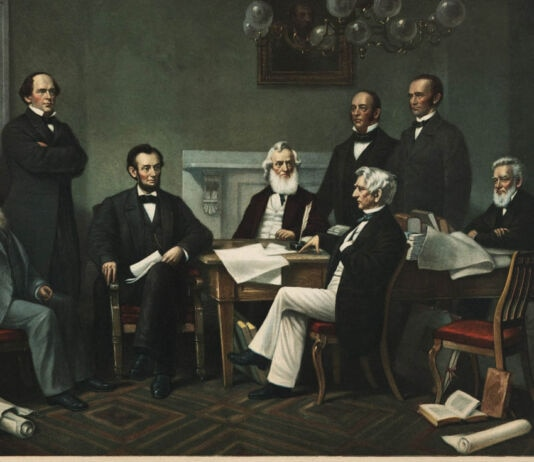 Painting of 8 men discussing a doucment (© Shutterstock)