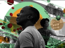 Photomontage with Burnell Cotlon in foreground and woman, children, buildings and produce behind (Photo illustration: State Dept./Photo: Bai Brands)