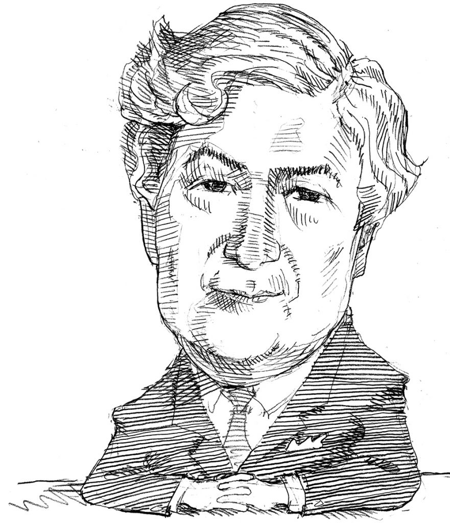 Illustration of James Wolfensohn in business suit (State Dept./D. Thompson)