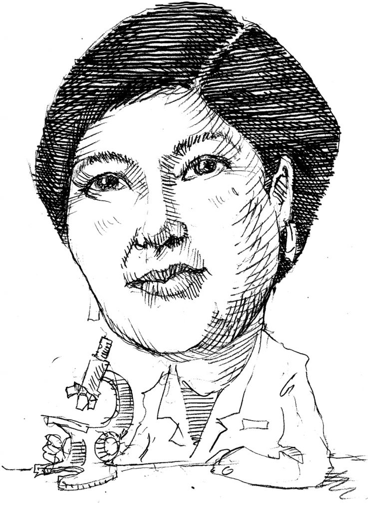 Illustration of Flossie Wong-Staal with microscope (State Dept./D. Thompson)