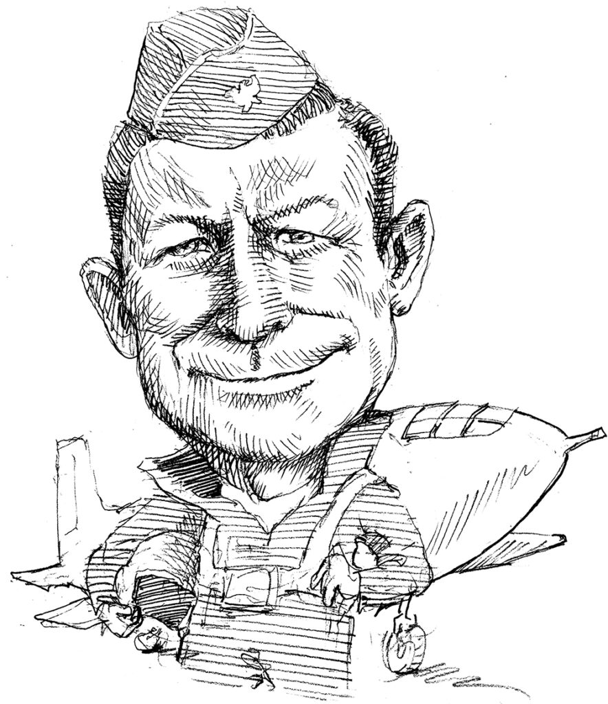 Illustration of Chuck Yeager in uniform standing in front of plane (State Dept./D. Thompson)