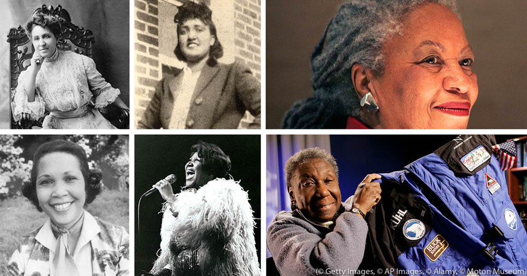 Photo collage of six women (Photo illustration: State Dept./Images: © AP Images, © Alamy, © Getty Images, © Moton Museum)