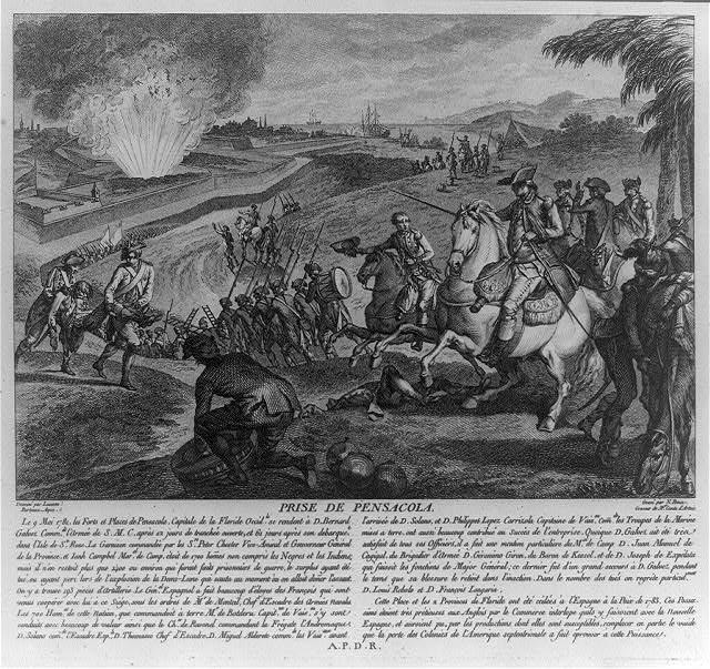 这是国会图书馆馆藏的1784年尼古拉斯·庞斯(Nicolas Ponce)绘制的版画,画面上英国堡垒中的弹药库中弹爆炸,在加尔维斯指挥下的西班牙部队正在发起进攻。(国会图书馆)