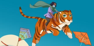 Cartoon Image of Priya riding her tiger in the sky amid kites (Courtesy of Priya's Shakti)