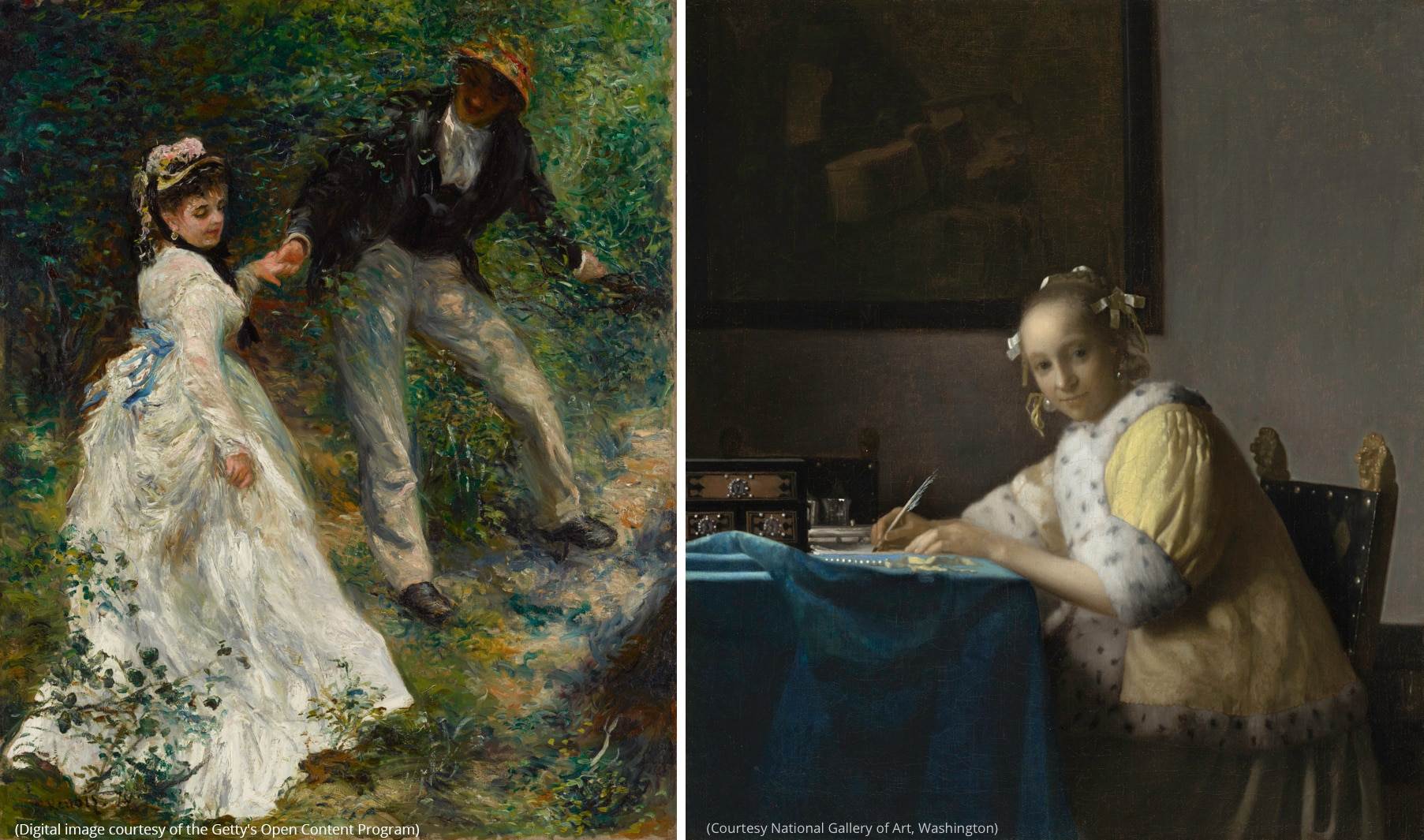 """Left: The Pierre-Auguste Renoir painting """"La Promenade"""" (Digital image courtesy of the Getty's Open Content Program) Right: The Johannes Vermeer painting """"A Lady Writing"""" (Courtesy National Gallery of Art, Washington)"""