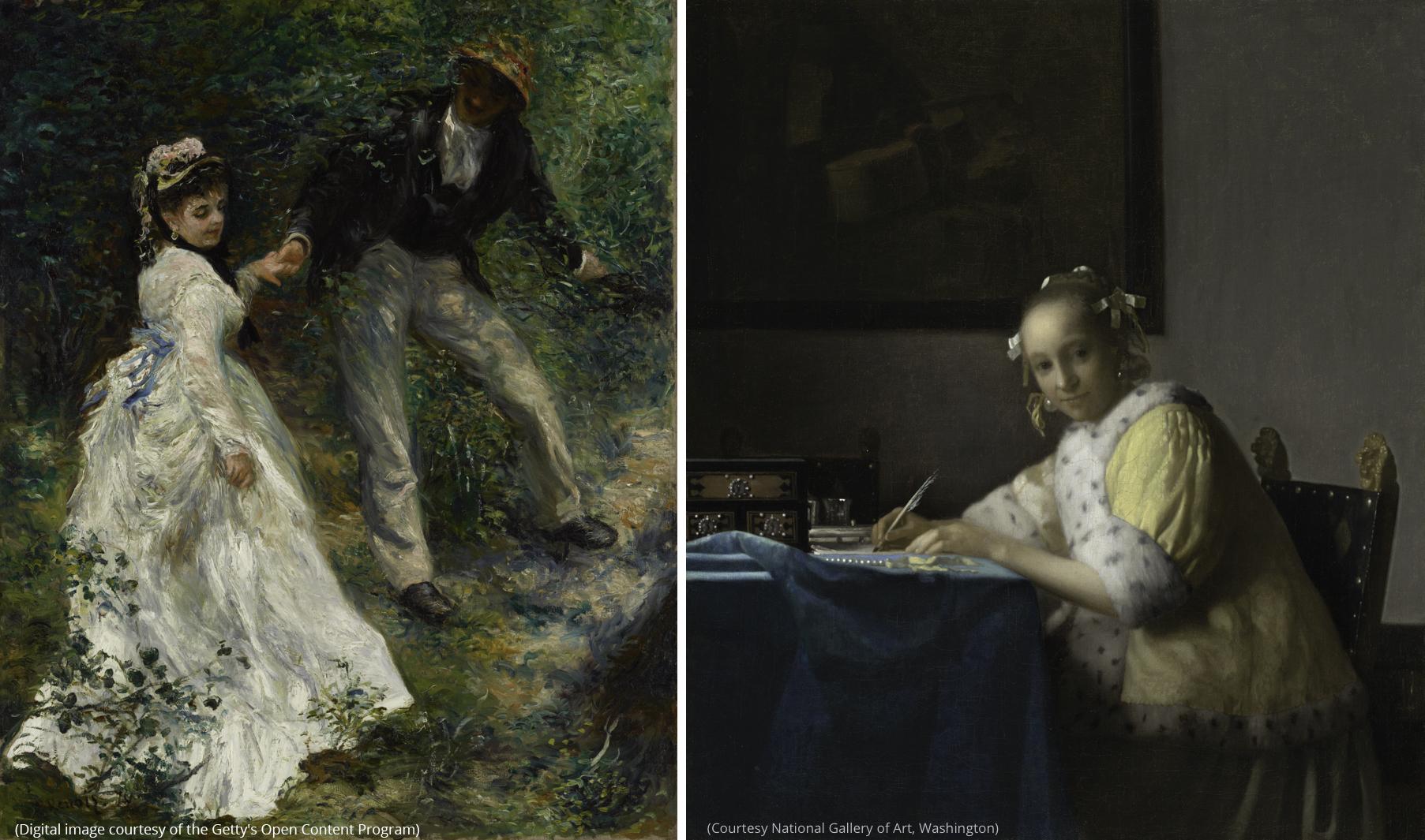 À gauche : La Promenade, de Pierre-Auguste Renoir. (Image numérique offerte par le Getty's Open Content Program) À droite : Femme écrivant une lettre et sa servante, de Johannes Vermeer. (Photo offerte par la National Gallery of Art, Washington)