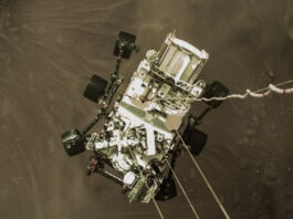 An image of NASA's Perseverance rover as it touched down on Mars (NASA/JPL-Caltech)