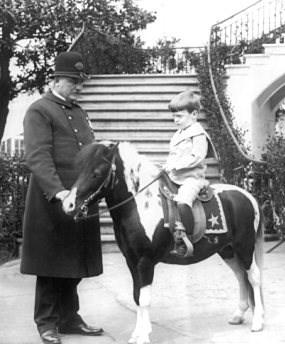 这是老罗斯福总统和他的儿子昆丁(Quentin Roosevelt)。昆丁骑在他们的小马阿冈昆(Algonquin)的背上。(国家公园管理局罗斯福诞辰地纪念馆)