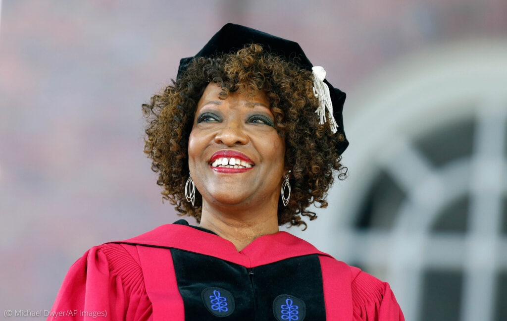 Headshot of smiling Rita Dove in academic cap and gown (© Michael Dwyer/AP Images)
