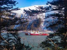 پانی میں سے گزرتے ہوئے جہاز کا دور درختوں کے بیچ میں سے ایک منظر (U.S. Coast Guard/Chief Petty Officer Kip Wadlow)