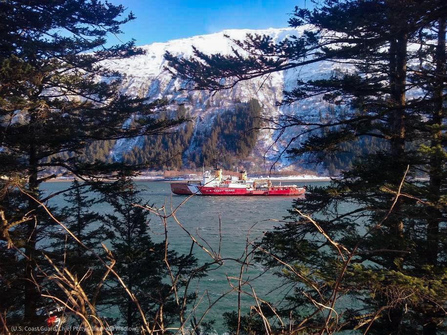 Coast Guard boat in water seen in distance through trees (U.S. Coast Guard/Chief Petty Officer Kip Wadlow)