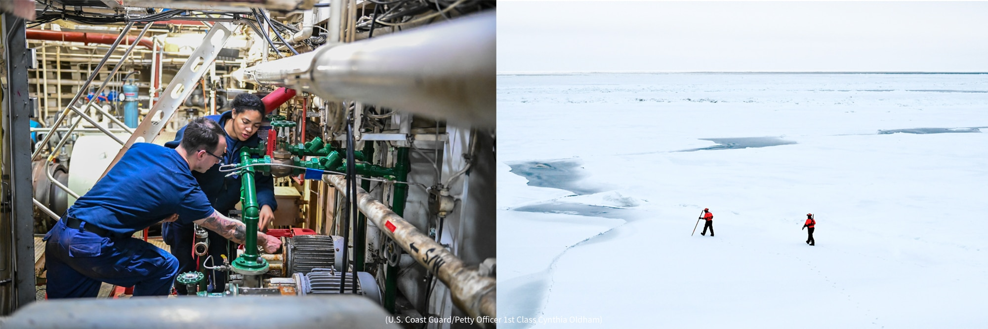 Left: Man and woman crew members working on equipment Right: View of ice-covered water with two people walking across (U.S. Coast Guard/Petty Officer 1st Class Cynthia Oldham)