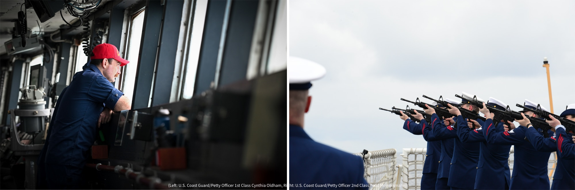 Left: Man looking out ship windows (U.S. Coast Guard/Petty Officer 1st Class Cynthia Oldham) Right: Line of sailors aiming rifles at sky (U.S. Coast Guard/Petty Officer 2nd Class Tedd Meinersmann)