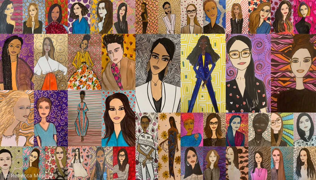 A collage of the 46 portraits of Mount Sinai nurses by Rebecca Moses (Portraits: © Rebecca Moses)