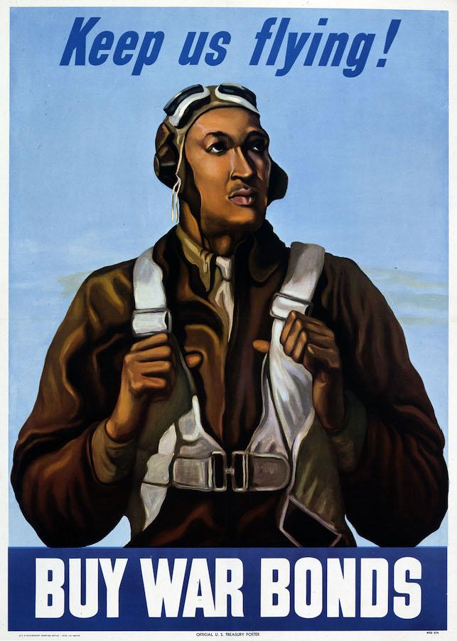 二战期间以塔斯基吉黑人飞行员的形象制作的国防债券招贴画(公共领域/国家档案馆)