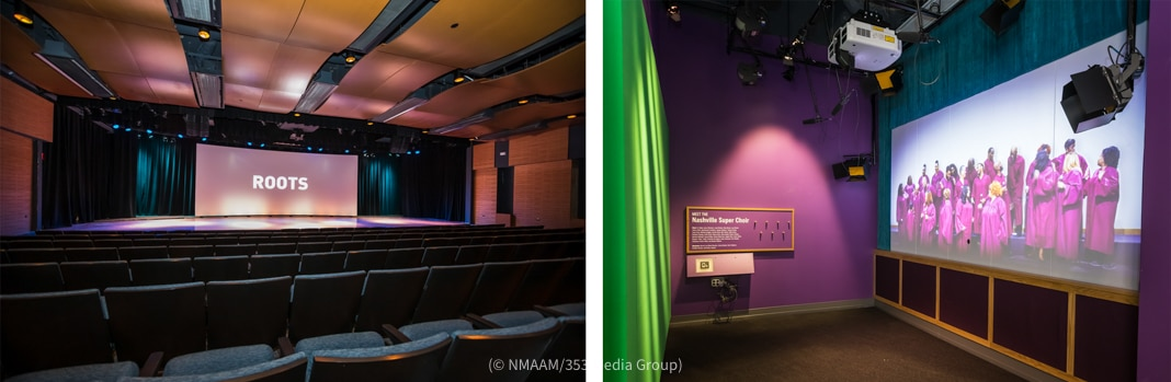 Theater seats and screen (left) and museum exhibit (© NMAAM/353 Media Group)