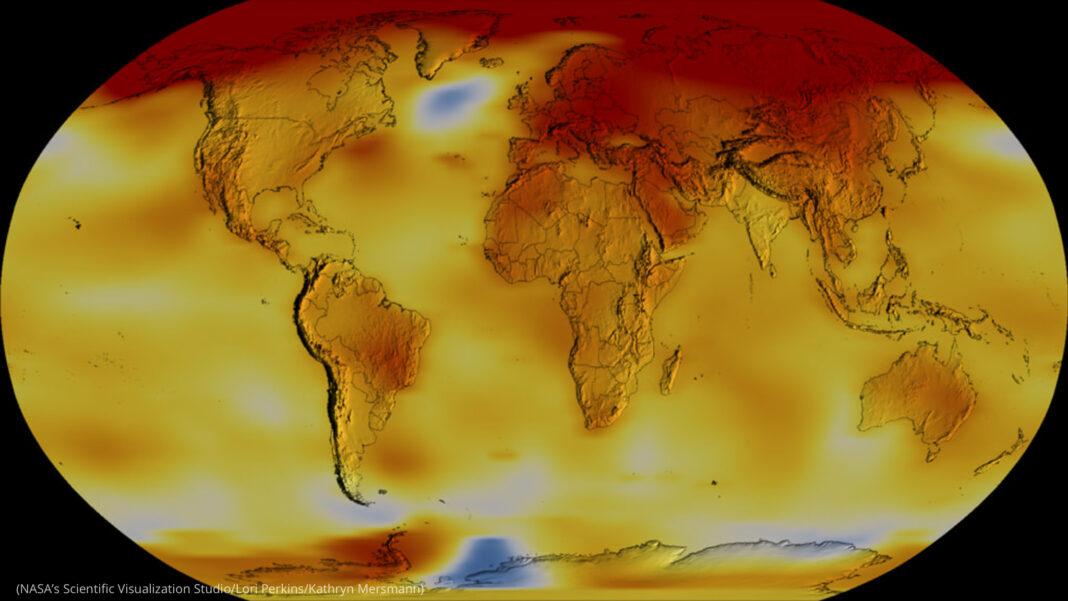 Mapa codificado en colores muestra las temperaturas en la Tierra (Estudio de Visualización Científica de la NASA/Lori Perkins/Kathryn Mersmann)
