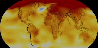 Color-coded map showing Earth's temperatures (NASA's Scientific Visualization Studio/Lori Perkins/Kathryn Mersmann)