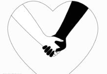 A white and a black hand grasping inside a line-drawn heart shape Hand in hand black and white on the heart. Holding hands a couple of lovers or friends. The concept of love and friendship, support and mutual assistance, interracial relations. Stock vector isolated. (© Irina Dias/Shutterstock)