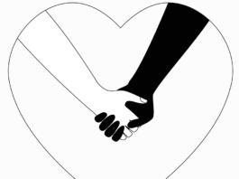 Ilustração de braços brancos e pretos com as mãos dadas dentro de contorno em forma de coração (© Irina Dias/Shutterstock)