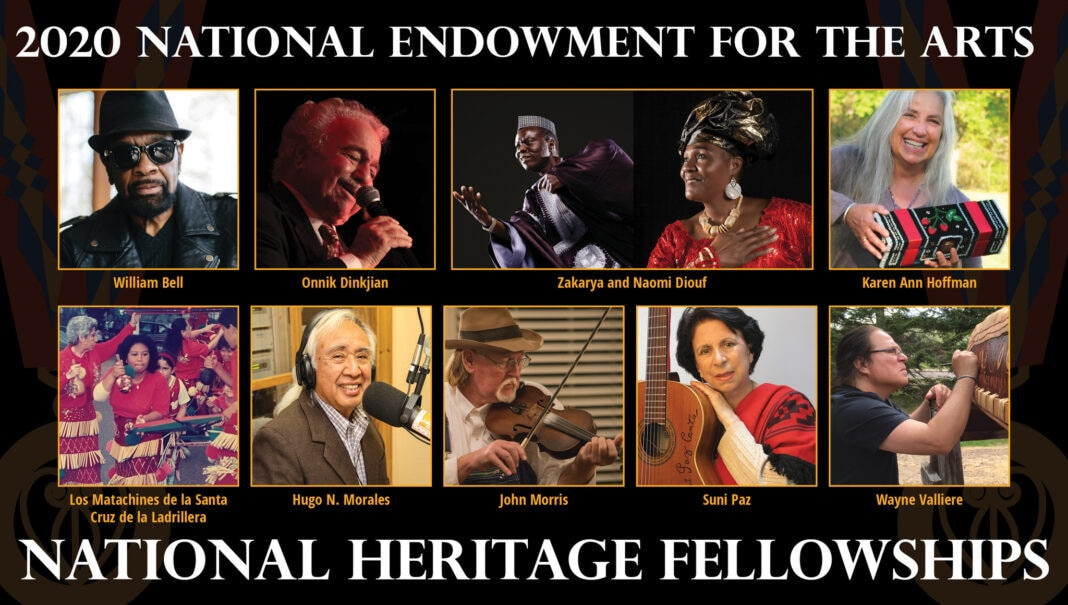 Collage showing portraits of 10 people (Multiple photo credits/Collage by National Heritage Fellowships)