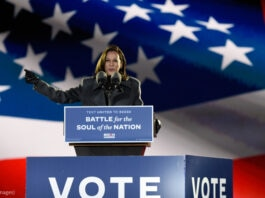 Kamala Harris discursa em uma tribuna com uma enorme bandeira americana ao fundo (© Michael Perez/AP Images)