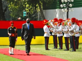Lloyd Austin (center) and man in uniform walking on red carpet past row of other people in uniform holding musical instruments (© Manish Swarup/AP Images)