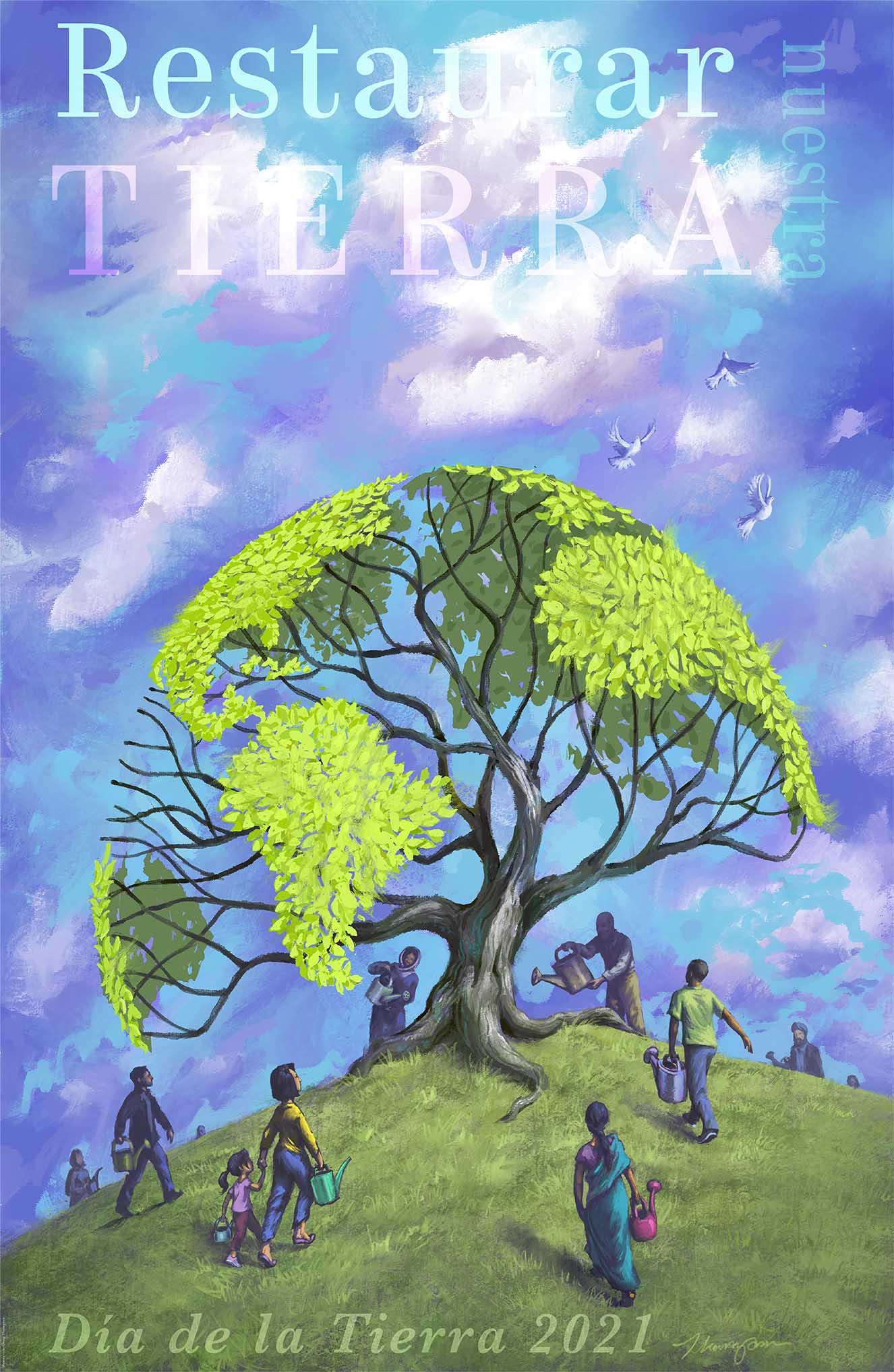 Póster ilustrado que muestra personas regando un árbol con la forma de la Tierra (Depto. de Estado de EE. UU./D. Thompson)