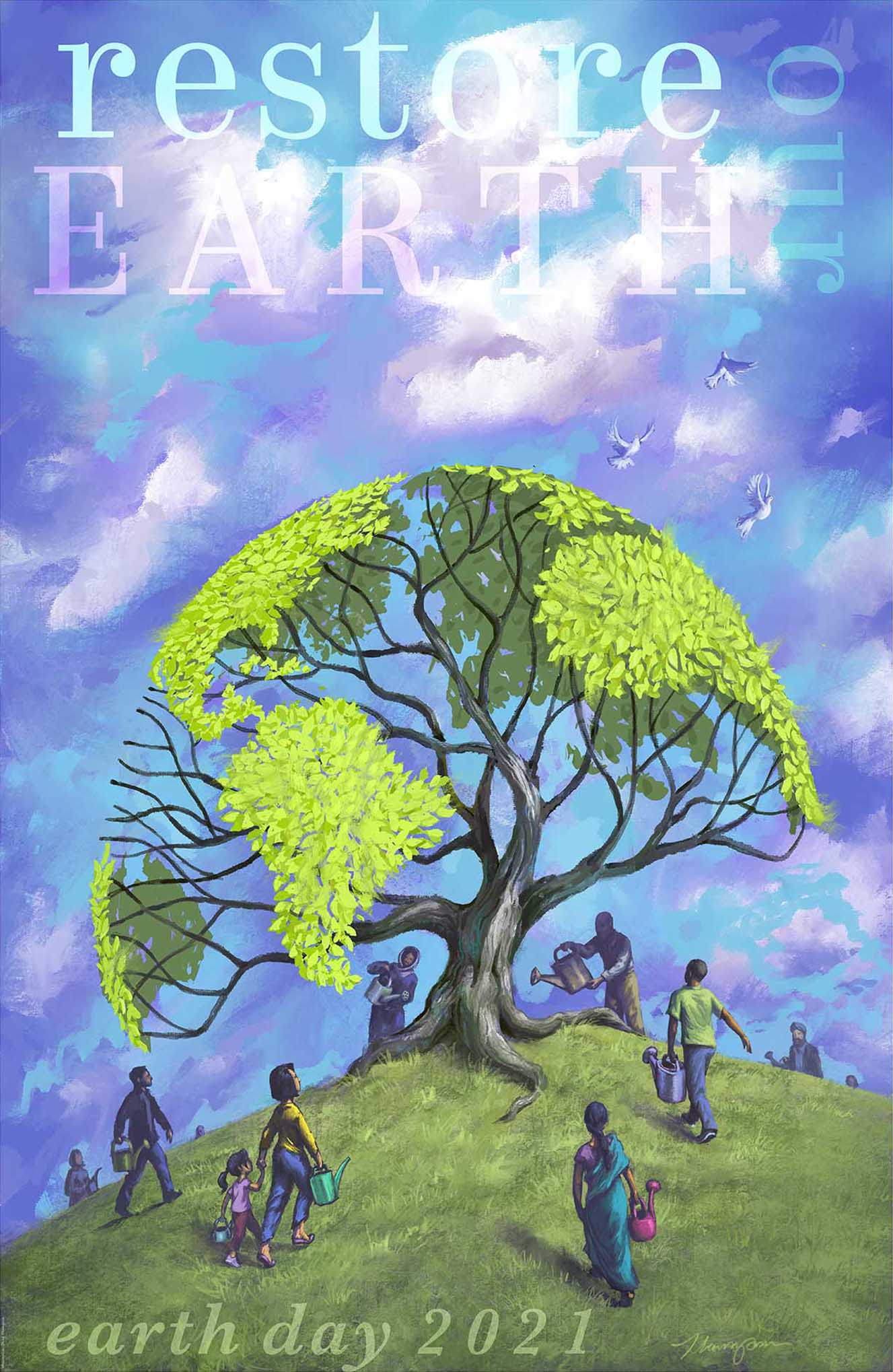 Illustrated poster depicting people watering an Earth-shaped tree (State Dept./D. Thompson)