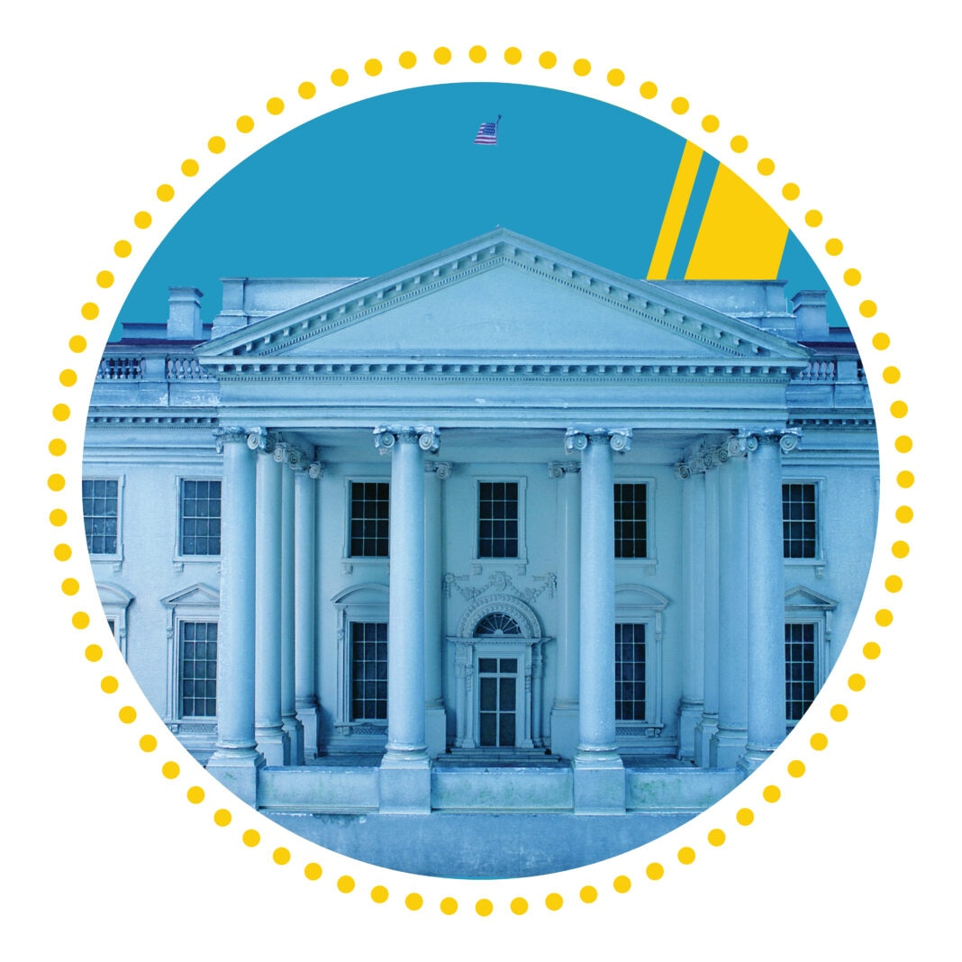 Illustration of White House within circle (State Dept./H. Efrem)