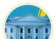 Photo of White House within circle (State Dept./H. Efrem. Photo: © Shutterstock)